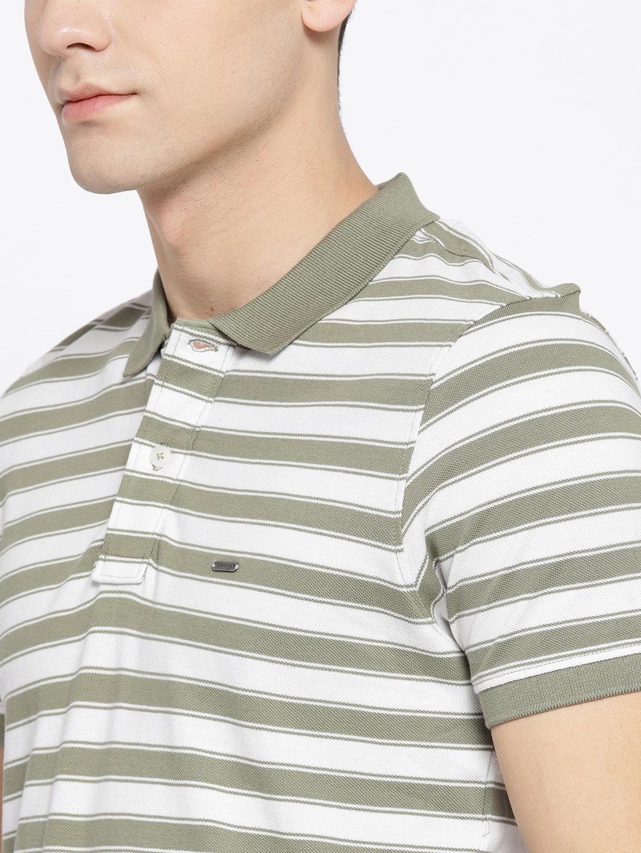 507469f1000081 Buy Numero Uno Men Olive Green   White Striped Polo Collar T Shirt ...