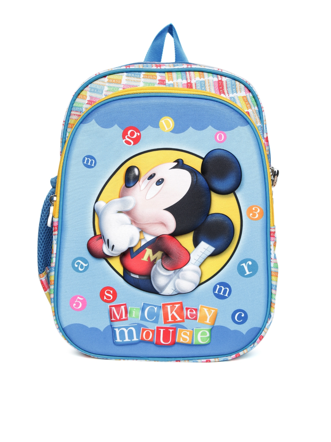 c8e5957c2a9 YK Disney Boys Blue   Yellow Embossed Mickey Mouse Print Backpack