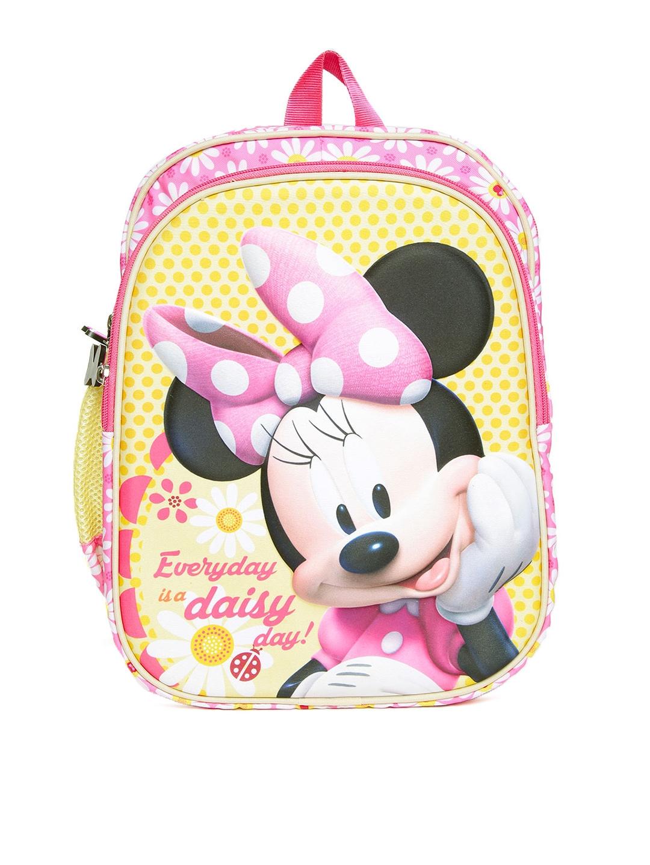 9759daa7f70 YK Disney Girls Pink   Yellow Embossed Minnie Mouse Print Backpack