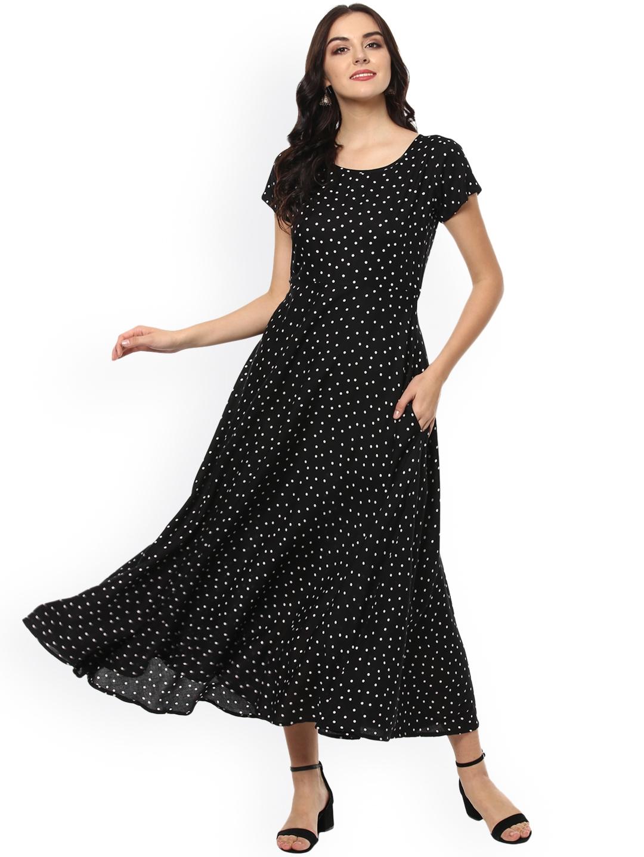 Fashion String Women Black Printed A Line Dress