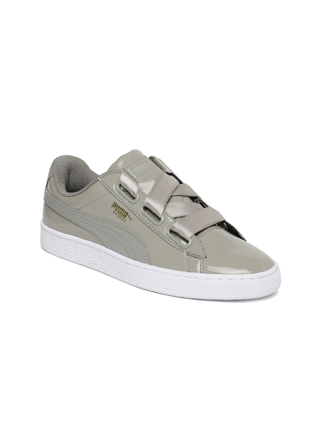 9f8029ce5f2b Buy Puma Women Grey Basket Heart Patent Sneakers - Casual Shoes for ...