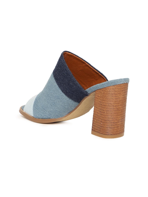 8365125816cb1 Buy Jove Women Blue Solid Open Back Mules - Heels for Women 4426633 ...