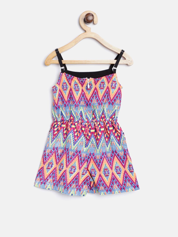 0778c534b01 Buy Nauti Nati Girls Magenta   Blue Printed Playsuit - Jumpsuit for ...