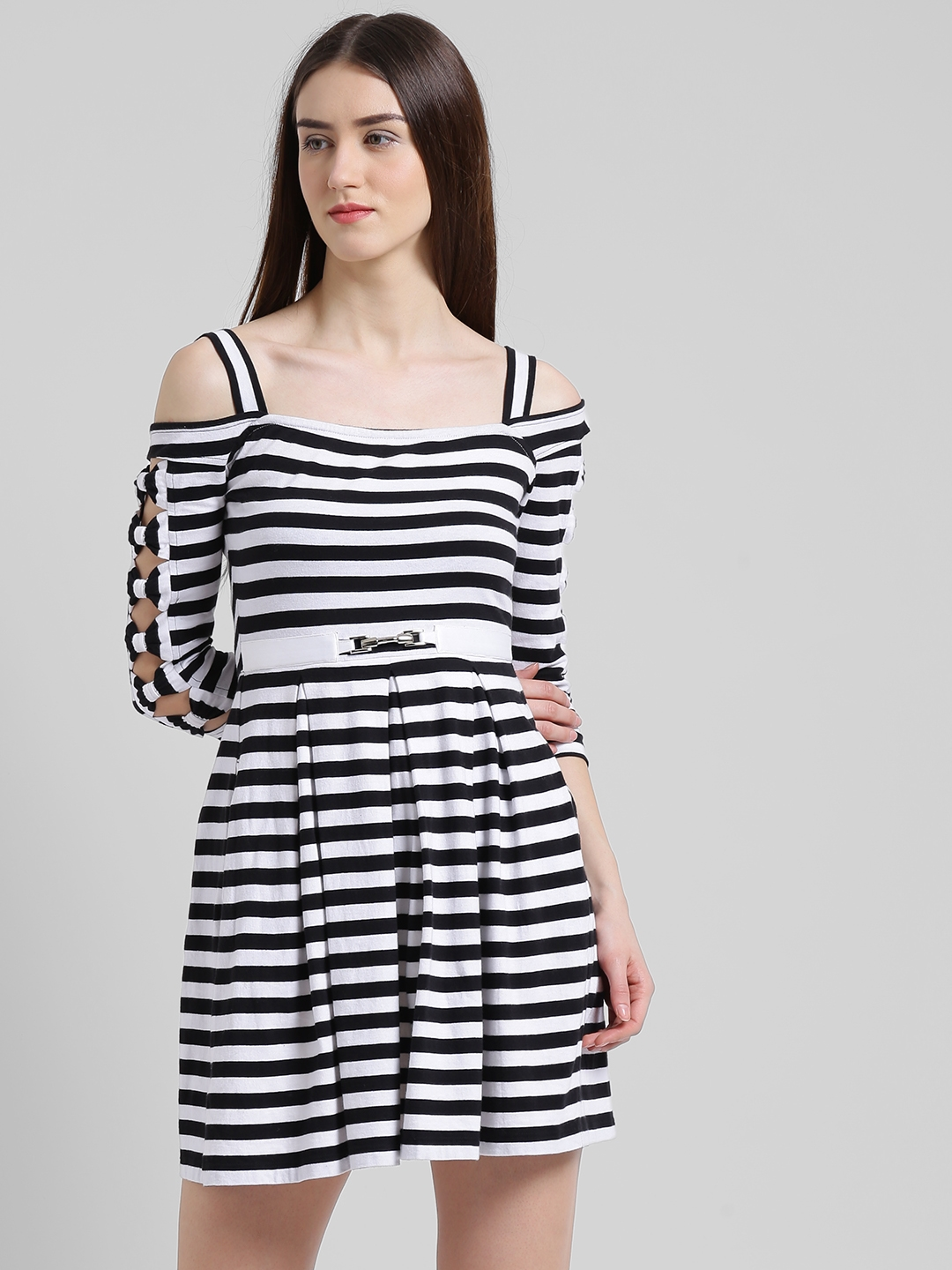 Texco Women Black Striped Fit and Flare Dress