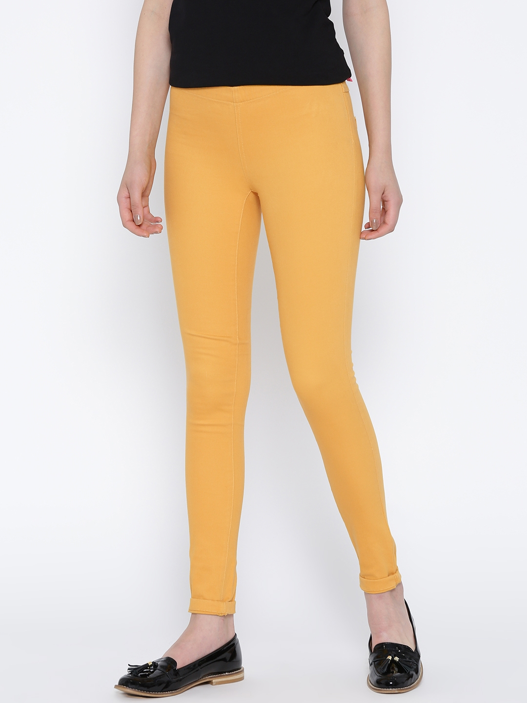 Rs. 1270 - Buy ONLY Women Mustard Yellow Jeggings - Leggings For Women Myntra