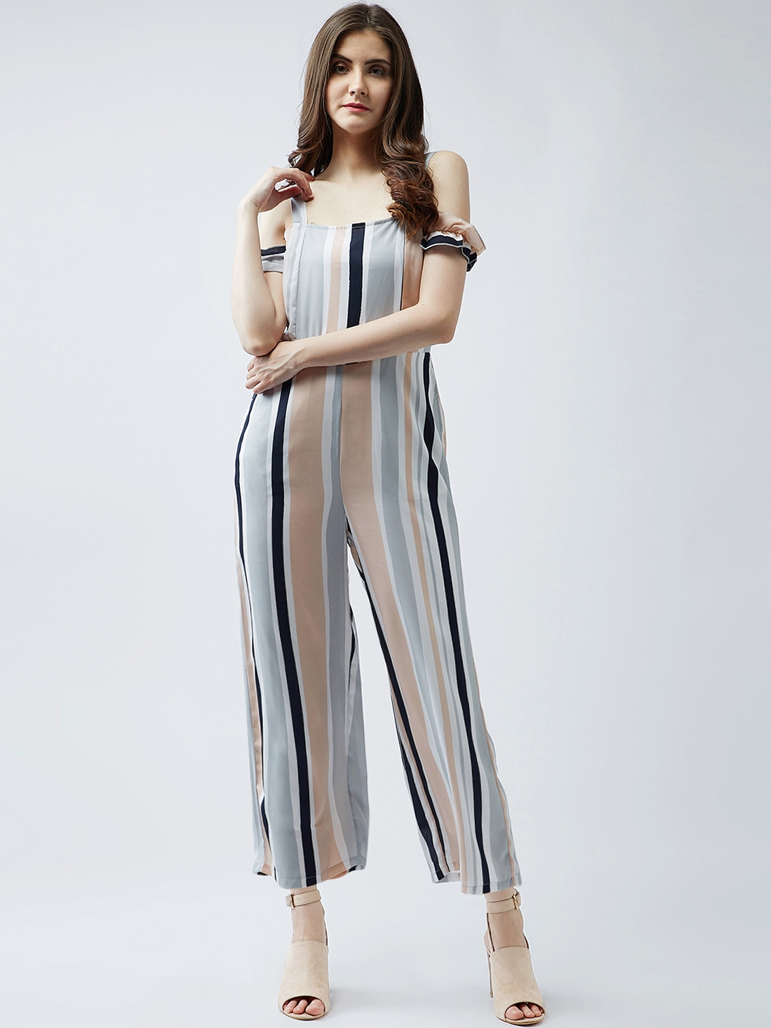 Buy Magre Multicoloured Striped Basic Jumpsuit Jumpsuit For Women