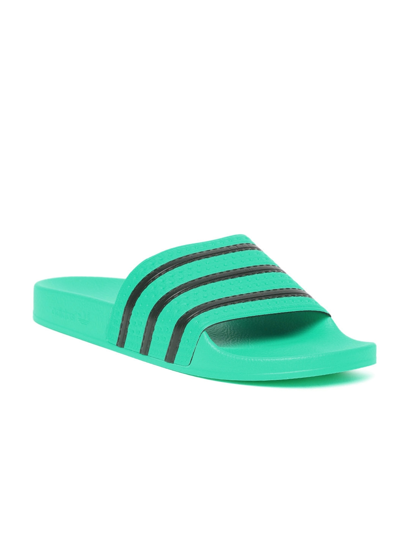 875971090f9867 Buy ADIDAS Originals Men Green   Black ADILETTE Striped Sliders ...