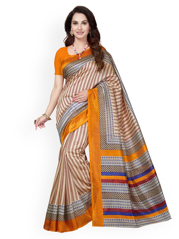 4787fb3d8 Buy Ishin Beige   Yellow Art Silk Printed Mysore Silk Saree - Sarees ...