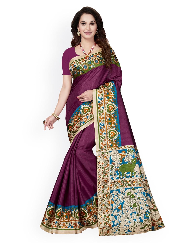 2fb42ba69 Buy Ishin Burgundy   Magenta Art Silk Printed Mysore Silk Saree ...