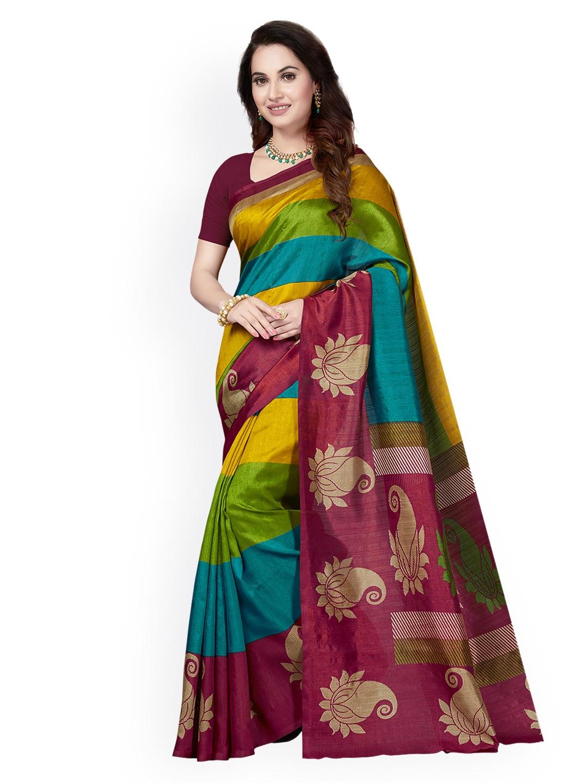 a61024ff0f6 Buy Ishin Multicoloured Art Silk Printed Mysore Silk Saree - Sarees ...