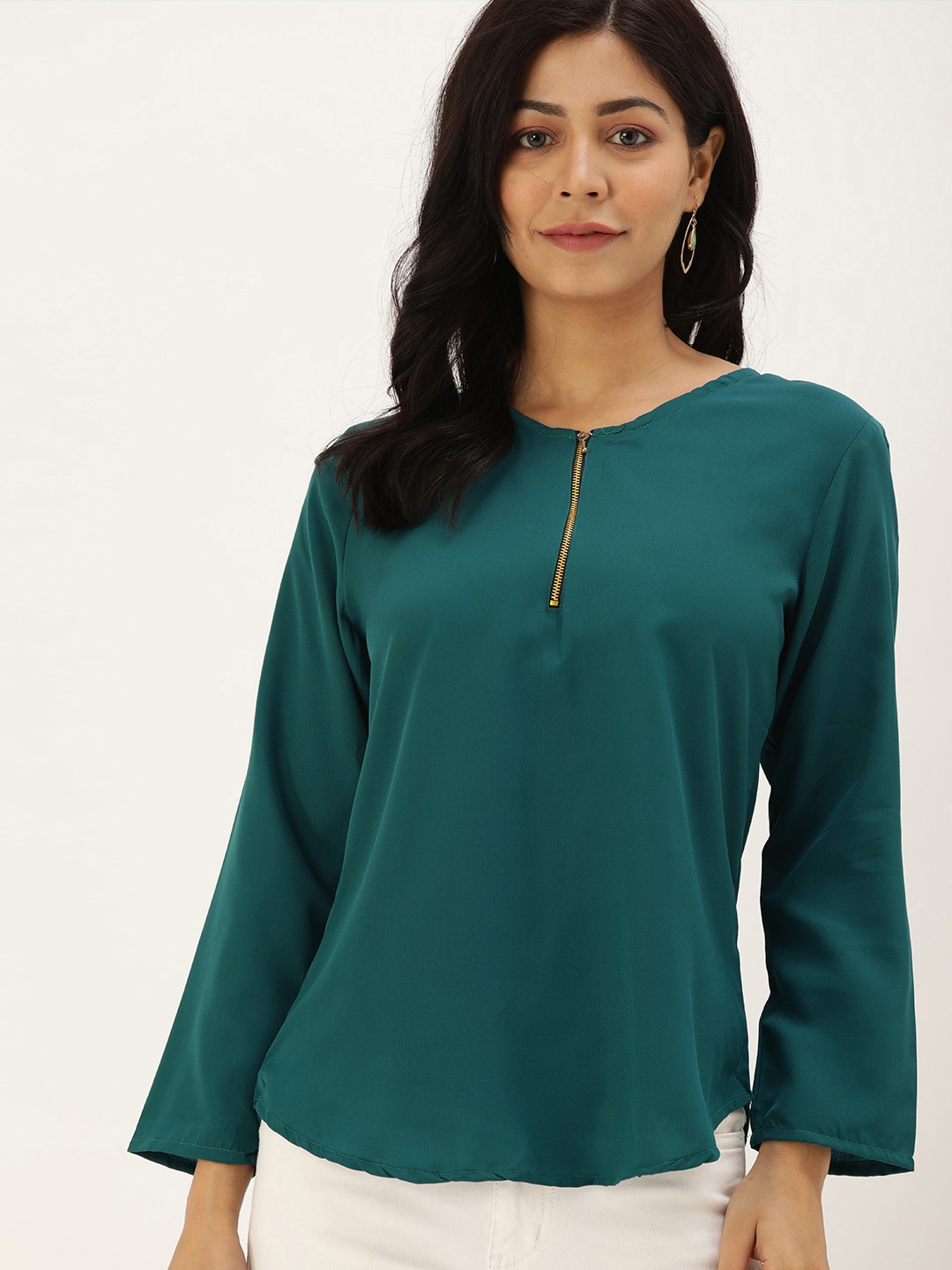 Mayra Women Green Solid Half Zipper Top