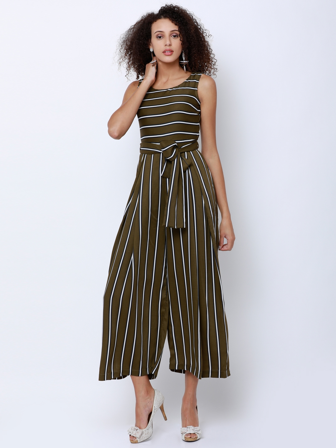 fdc67f36eed Buy Tokyo Talkies Olive Green   White Striped Culotte Jumpsuit ...