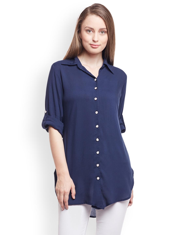 Buy Castle Women Navy Blue Smart Regular Fit Solid Casual Shirt
