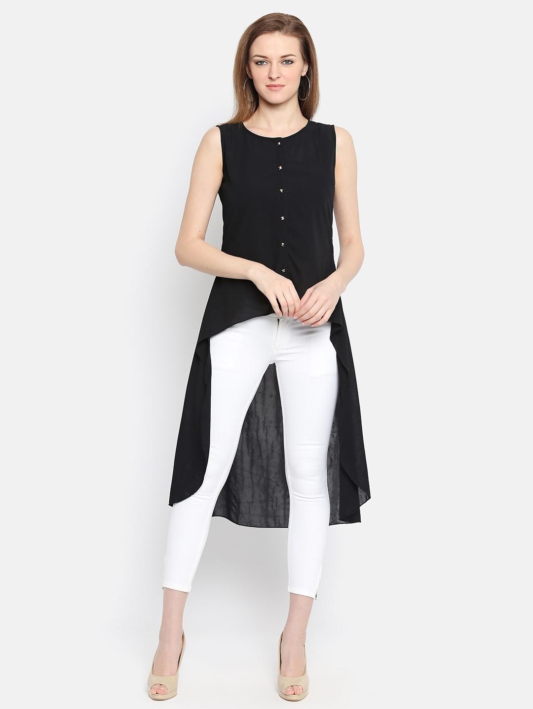 067b0c0dc89 Buy Ishin Women Black Solid High Low Top - Tops for Women 4444675 ...