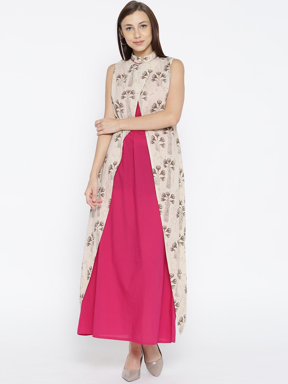 6122575e906 Buy Jaipur Kurti Women Off White Printed Layered Maxi Dress ...