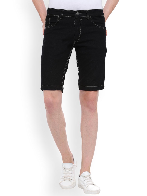 494cbf973c Buy High Star Men Black Solid Slim Fit Denim Shorts - Shorts for Men ...