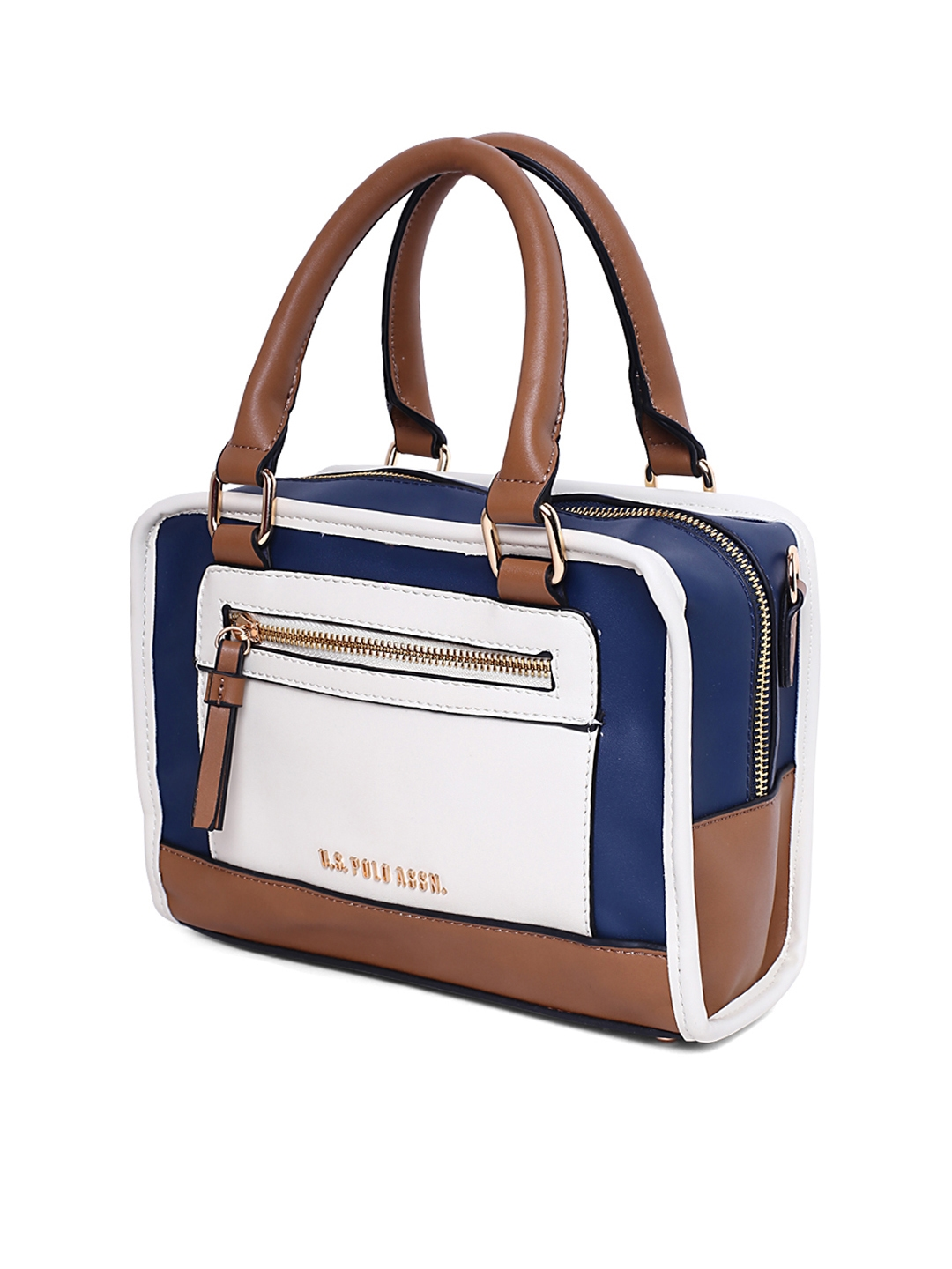 Buy U.S. Polo Assn. Women Off White   Blue Colourblocked Handheld ... 17f72ec37c86a