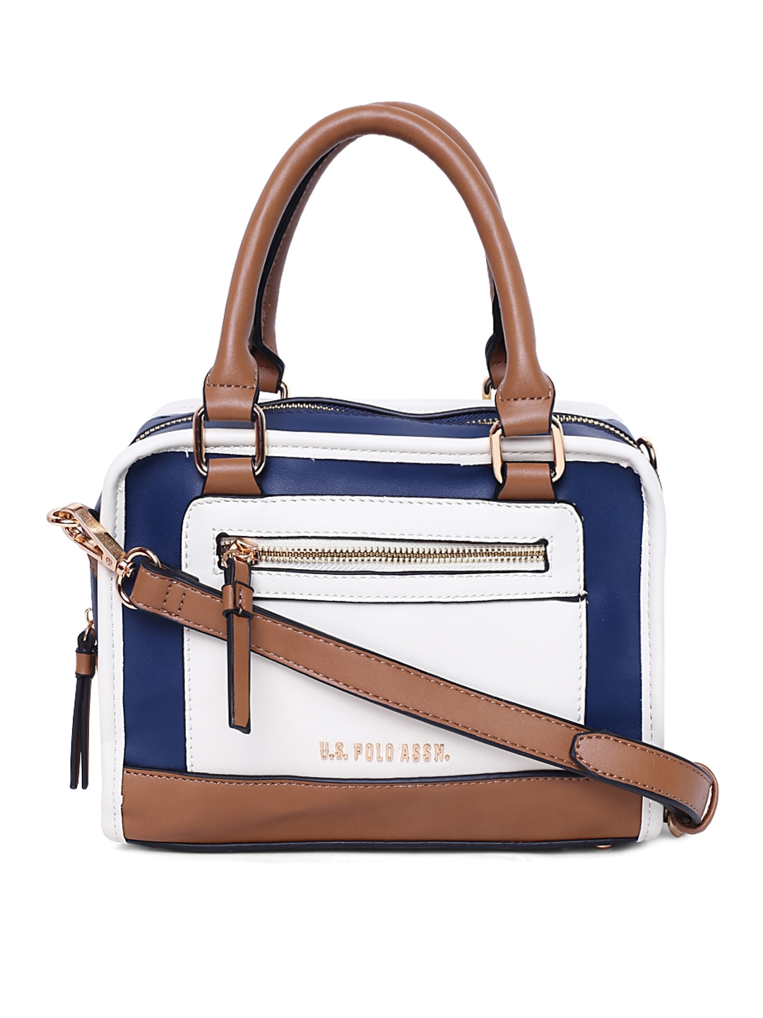 Buy U.S. Polo Assn. Women Off White   Blue Colourblocked Handheld ... 0697eb05258e0