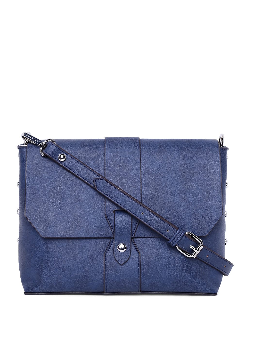 Buy U.S. Polo Assn. Women Blue Solid Sling Bag - Handbags for Women ... c98dc20be2f14