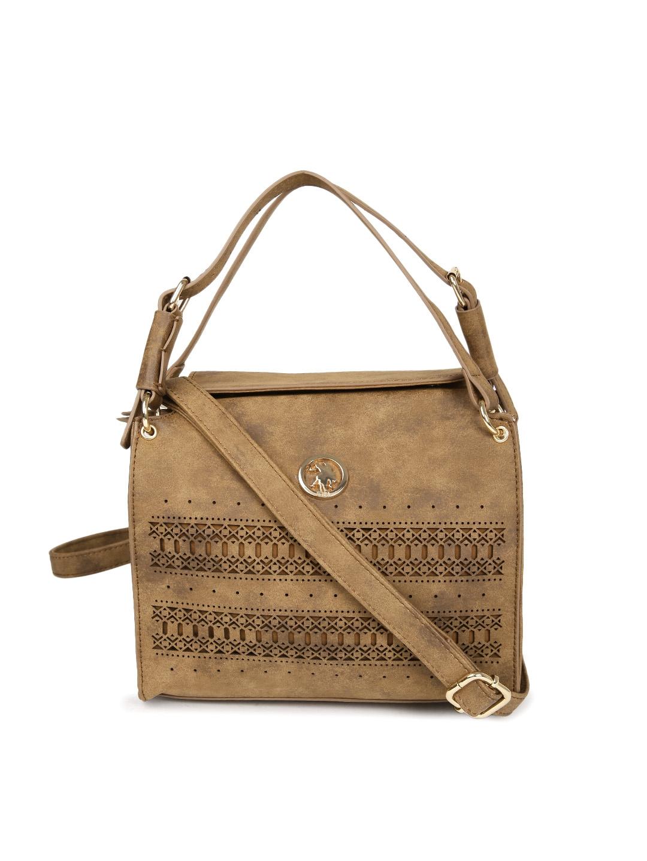 Buy U.S. Polo Assn. Women Brown Self Design Handheld Bag - Handbags ... 240af1fc5ecbc