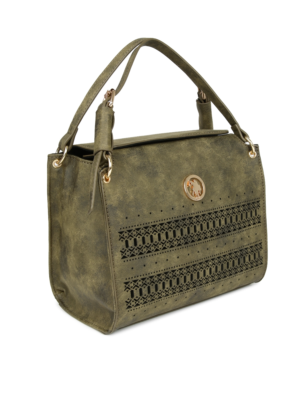 U.S. Polo Assn. Women Olive Green Solid Handheld Bag with Cut-Out Detail e738a19b1968c