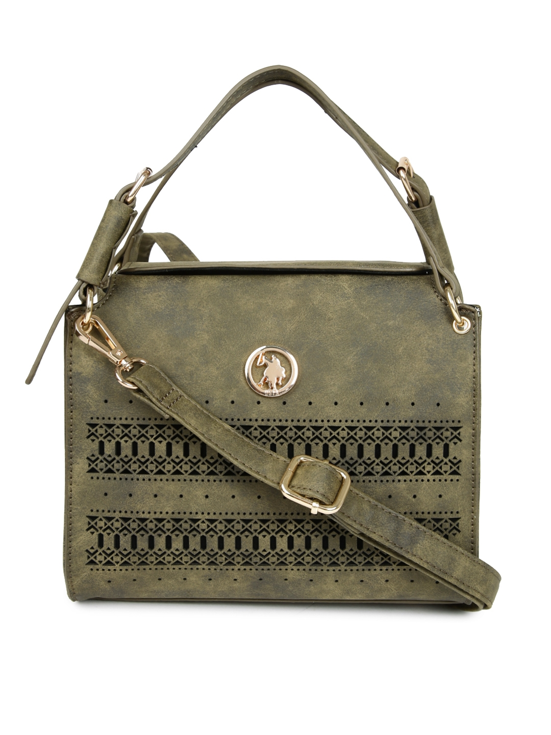 fda63c1ac18a Buy U.S. Polo Assn. Women Olive Green Solid Handheld Bag With Cut ...