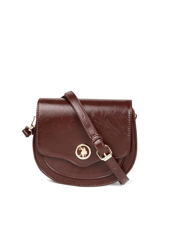 Buy U.S. Polo Assn. Women Brown Solid Sling Bag - Handbags for Women ... ebf61e58d3