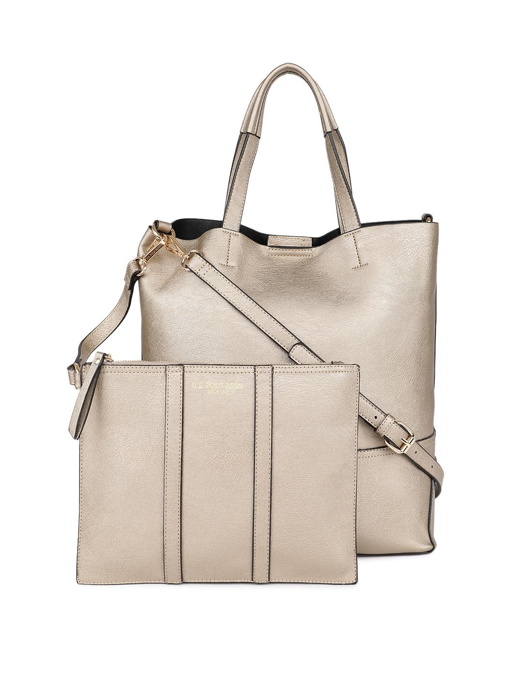 Buy U.S. Polo Assn. Women Gold Toned Solid Shoulder Bag - Handbags ... 197d5169ff722
