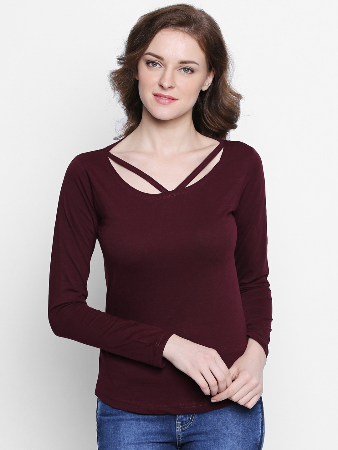 The Dry State Women Burgundy Solid Scoop Neck T shirt
