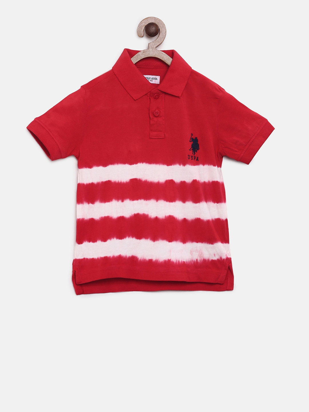 fc47482495 Buy U.S. Polo Assn. Kids Boys Red Striped Polo Collar T Shirt ...