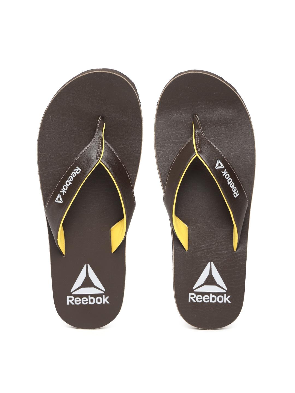 Buy Reebok Men Coffee Brown Advent Solid Thong Flip Flops - Flip ... 35a4d3708