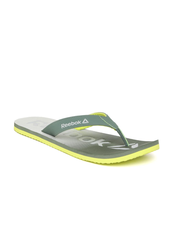 1045c08641dc9e Buy Reebok Men Green   Grey Embossed Thong Flip Flops - Flip Flops ...
