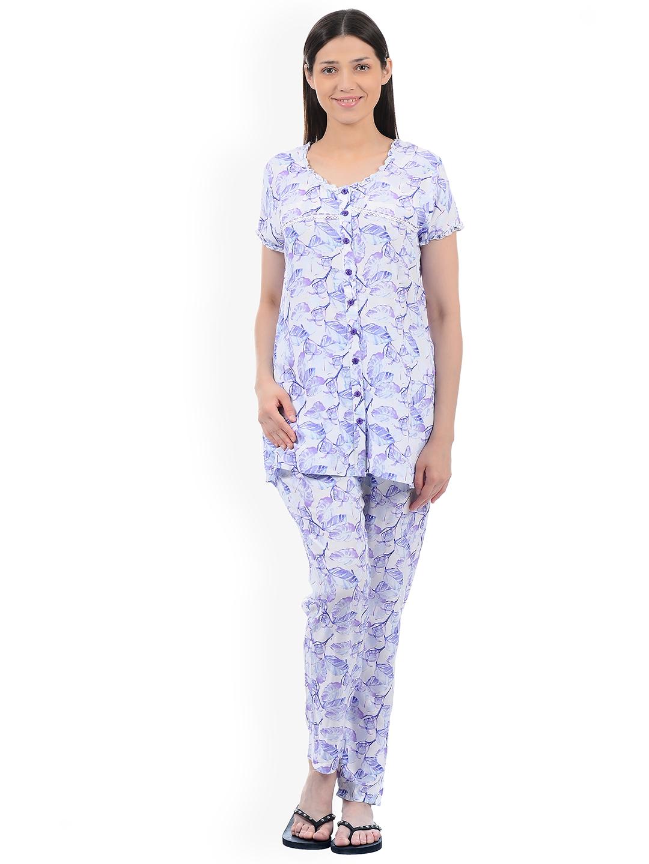 Buy Sweet Dreams Women Off White   Blue Printed Night Suit 285518 ... 0391b7180