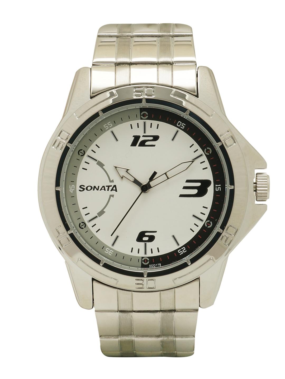 Sonata Men White   White Analogue WatchNK77001SM02