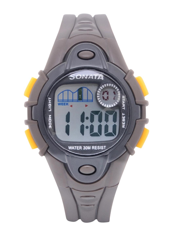 Sonata Unisex Grey Digital Watch NH87012PP01