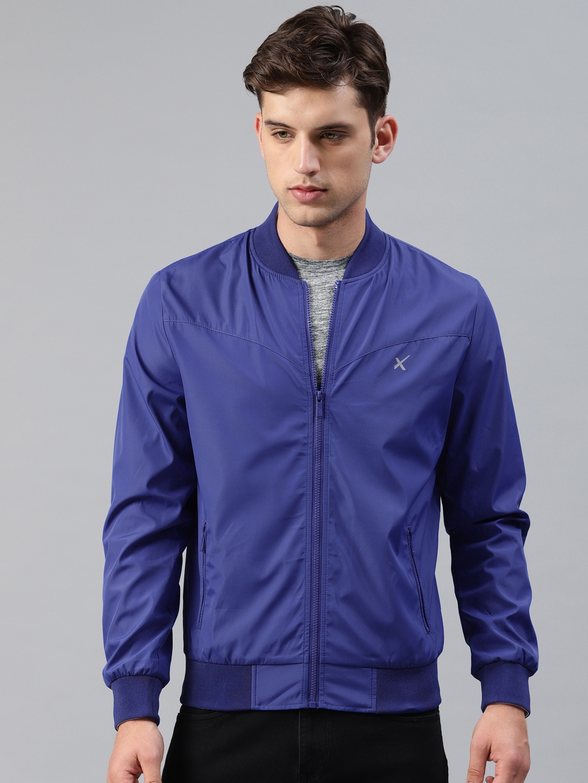 022645be4 Buy HRX By Hrithik Roshan Men Blue Solid Bomber - Jackets for Men ...