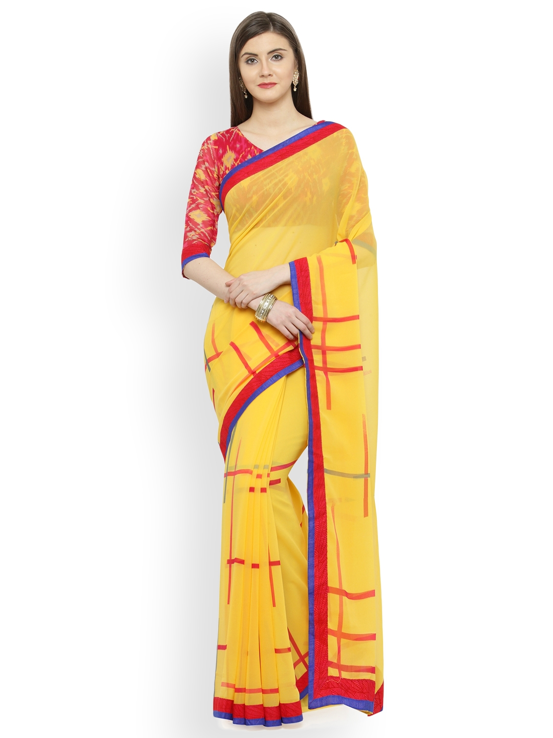 f399ebb6481 Buy Shaily Yellow Printed Pure Georgette Saree - Sarees for Women ...