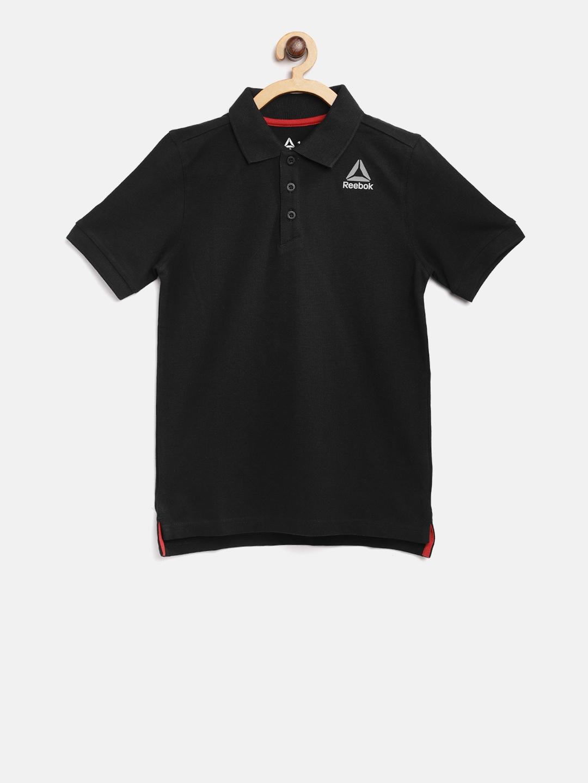31033b9c4852 Buy Reebok Boys Black Core Solid Polo Collar Training T Shirt ...