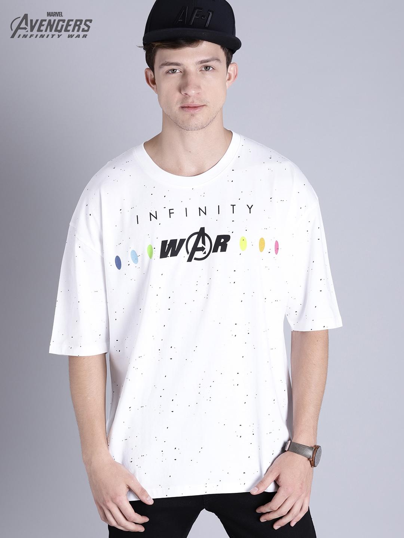 0ae48dded Buy Kook N Keech Marvel Men White Printed Oversized T Shirt ...