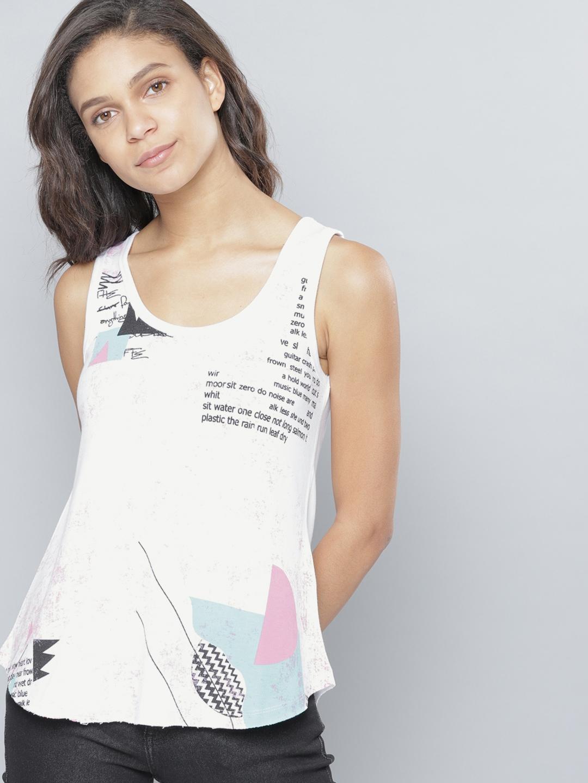 db2c16130520e5 Buy NUSH Women White Printed Tank Top - Tops for Women 4455307