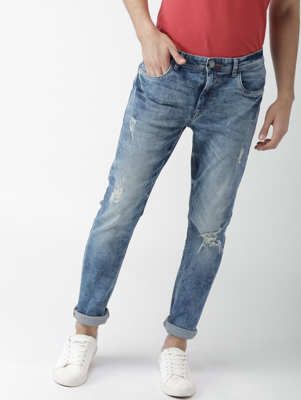 1096d9558e7 Mast   Harbour Men Blue Slim Fit Mid-Rise Mildly Distressed Stretchable  Jeans