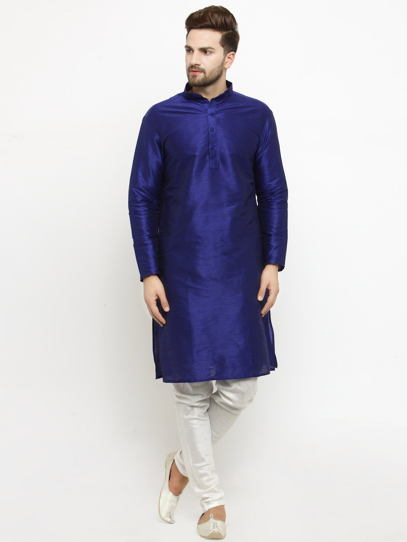 7ea08a315e Buy Larwa Men Blue & White Solid Silk Kurta With Pyjamas - Kurta ...