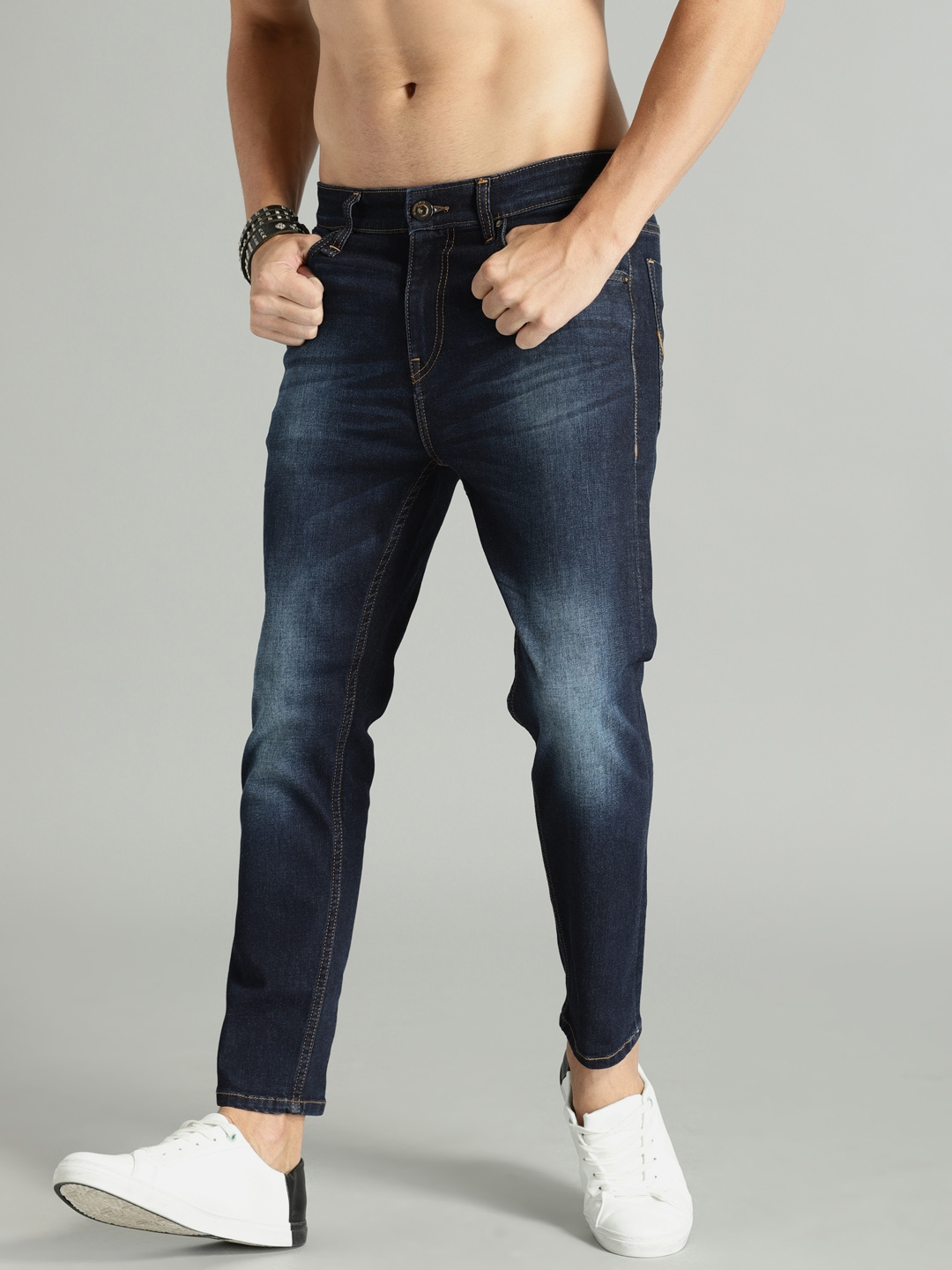 Buy Roadster Men Blue Skinny Fit Mid Rise Clean Look Stretchable