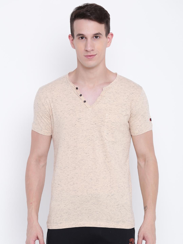 94eb7b832bc6 Buy Sweet Dreams Men Peach Coloured Solid V Neck T Shirt - Tshirts ...