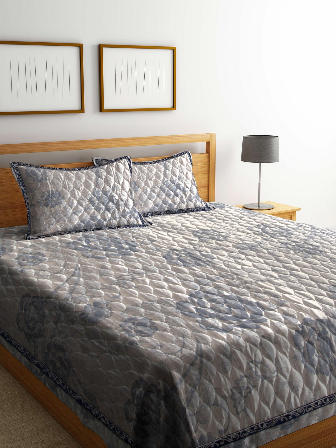 Buy Blush Grey 120 Tc Cotton Jacquard Double King Bed Cover With 2 Bedcover Image