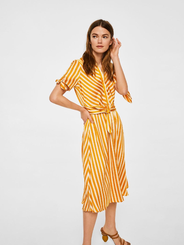 e706b66f66 Buy MANGO Women Mustard Yellow   White Striped Fit   Flare Dress ...