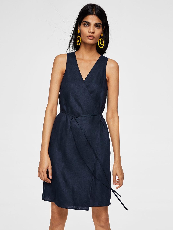 a28f7af0a91 Buy MANGO Women Navy Blue Solid Linen Wrap Dress - Dresses for Women ...