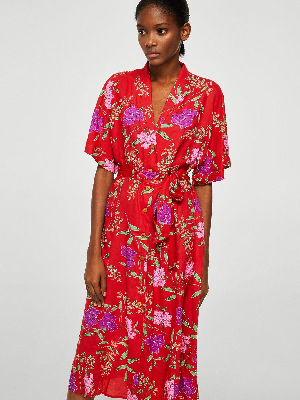 fb867e1285e8 Buy MANGO Women Red & Green Printed Midi Shirt Dress - Dresses for ...