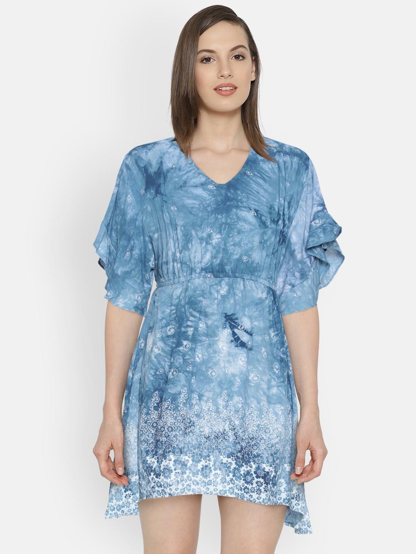 c68a9434 Buy Lee Cooper Women Blue Printed A Line Dress - Dresses for Women ...