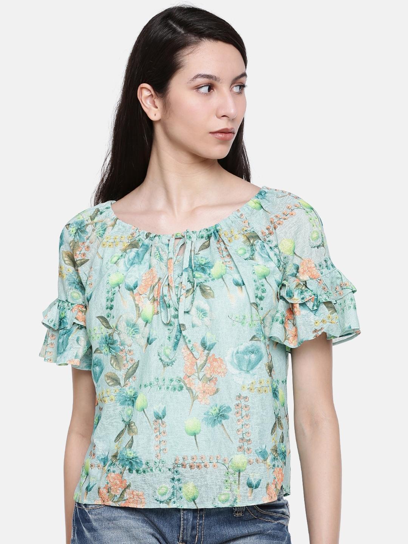 ecc08b8839fdd2 Buy Lee Cooper Women Sea Green Printed Top - Tops for Women 4610307 ...